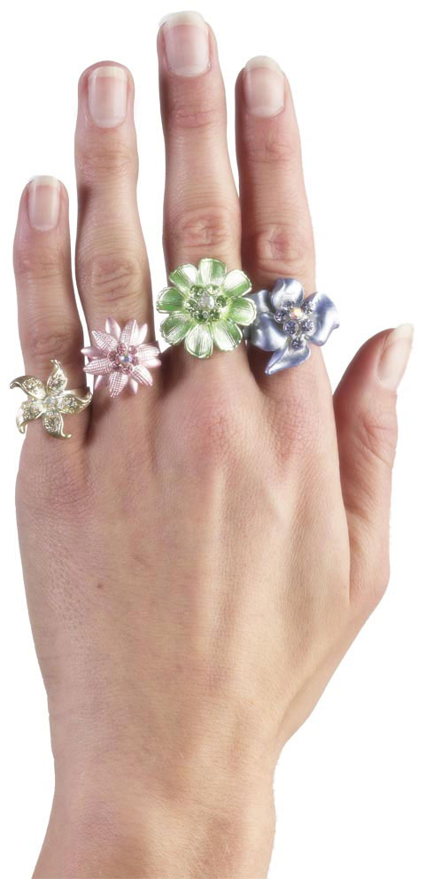Rings, Flower with Jewels, Asst Smiffys fancy dress