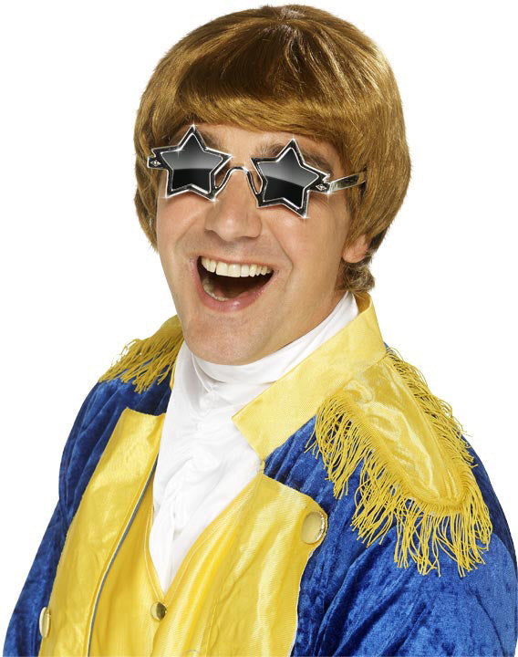ELTON Set, Caramel, Fringed Wig & Star Specs ,Smiffys fancy dress