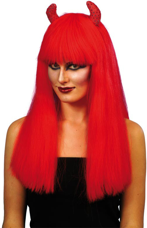 Devil Wig, Long Red With Red Sequin Horns ,Smiffys fancy dress