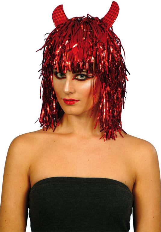 Red Devil Tinsel Wig