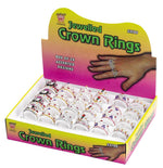 Rings, Crown Shaped, Assorted Disp.Box/24 Smiffys fancy dress
