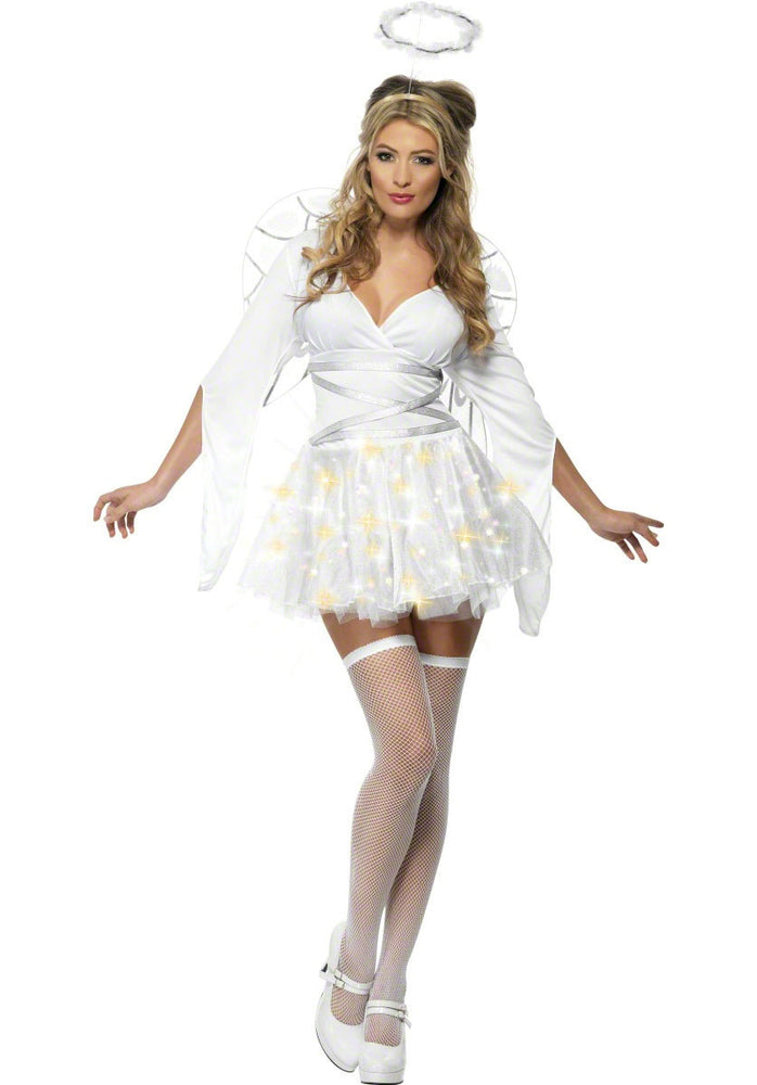 Fever Light Up Angel Costume, Festive Fancy Dress