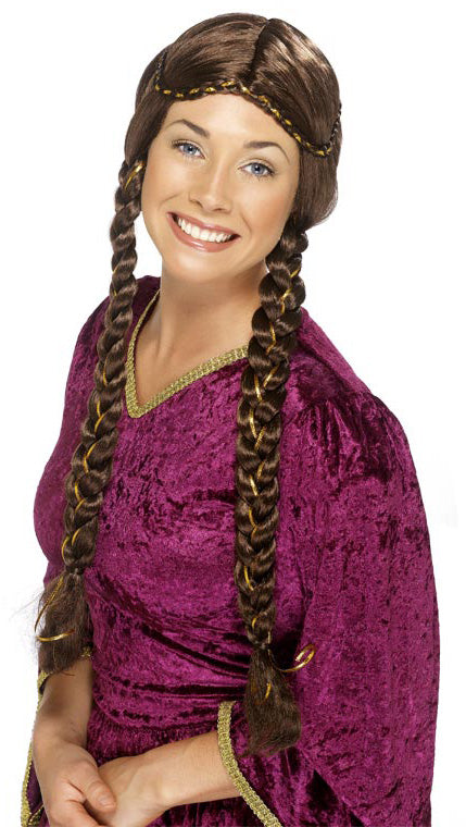 MARION Wig Brown, Long Plaits, Braids Smiffys fancy dress