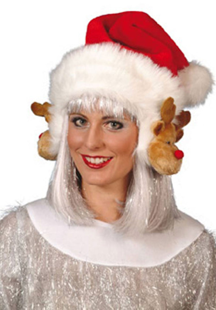 Reindeer Ear Muffs Santa Hat