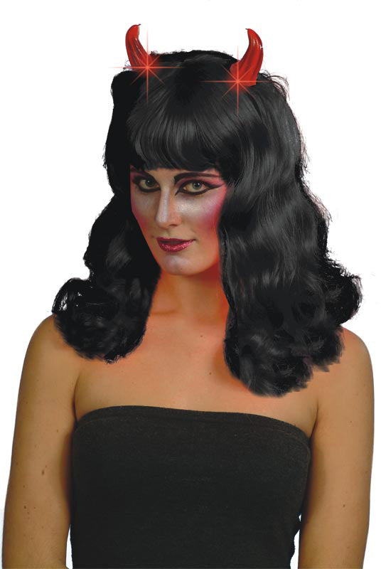 Devilish Wig, Black, Flashing Horns ,Smiffys fancy dress