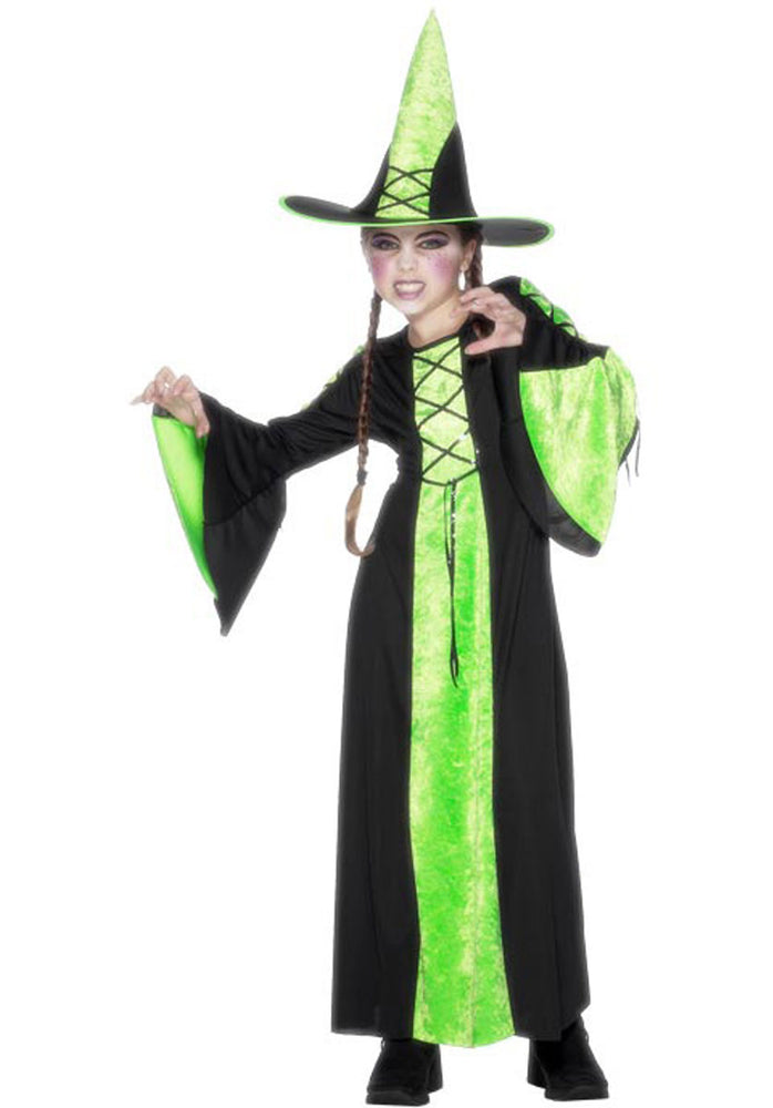 Bewitched Costume Green, Childrens Halloween Fancy Dress