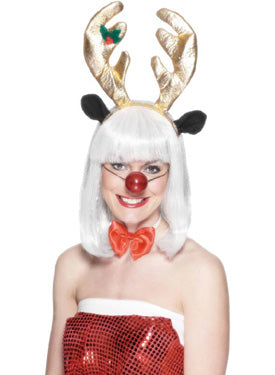 Reindeer Set, Horns, Bow Tie & Flashing Nose Smiffys fancy dress