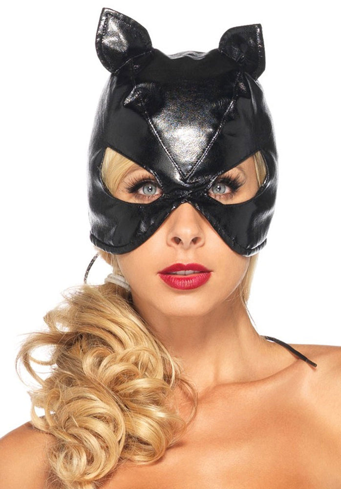 Faux Leather Cat Mask With Corset Lace-up Back