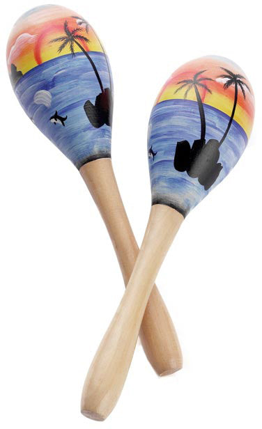 Maracas with Tropical Theme, Pair, 20cm Smiffys fancy dress