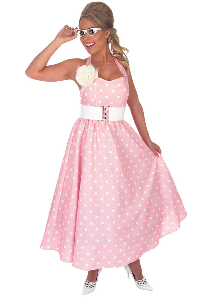 50s Pink Day Dress Costume, Ladies Fancy Dress