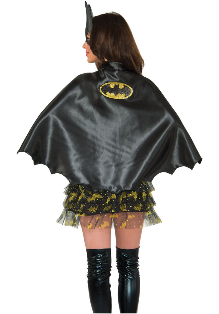 Adult Black Batgirl Cape with glittered bat logo