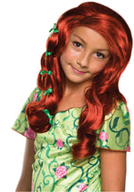 Poison Ivy Wig for girls.Long and curly auburn-coloured hair