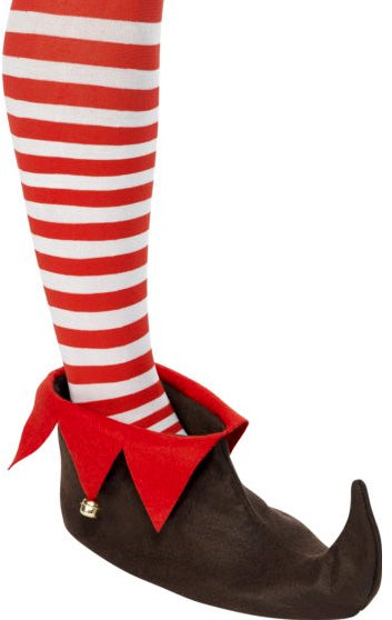 Elf Shoes, Brown/Red - Christmas Fancy Dress Accessories