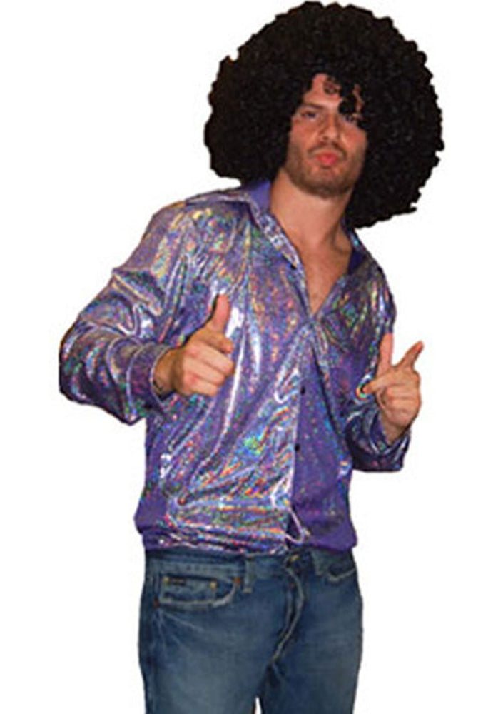 Disco Shirt Silver & Purple, 70's Themed Fancy Dress