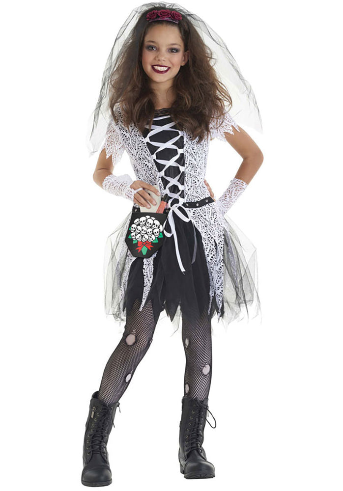 Gothic Witch Bride Child Costume in Black and White