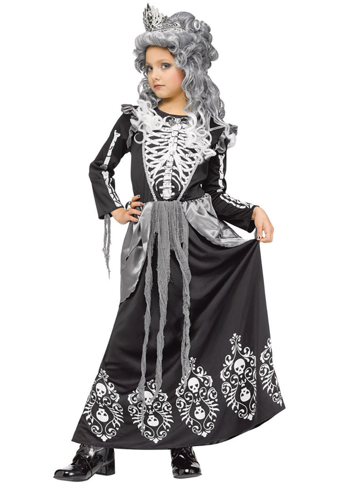 Girls Skeleton Queen Princess Eerie Creepy Costume