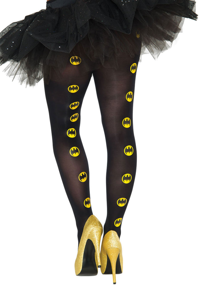 Black Batgirl Tights with bat logo print