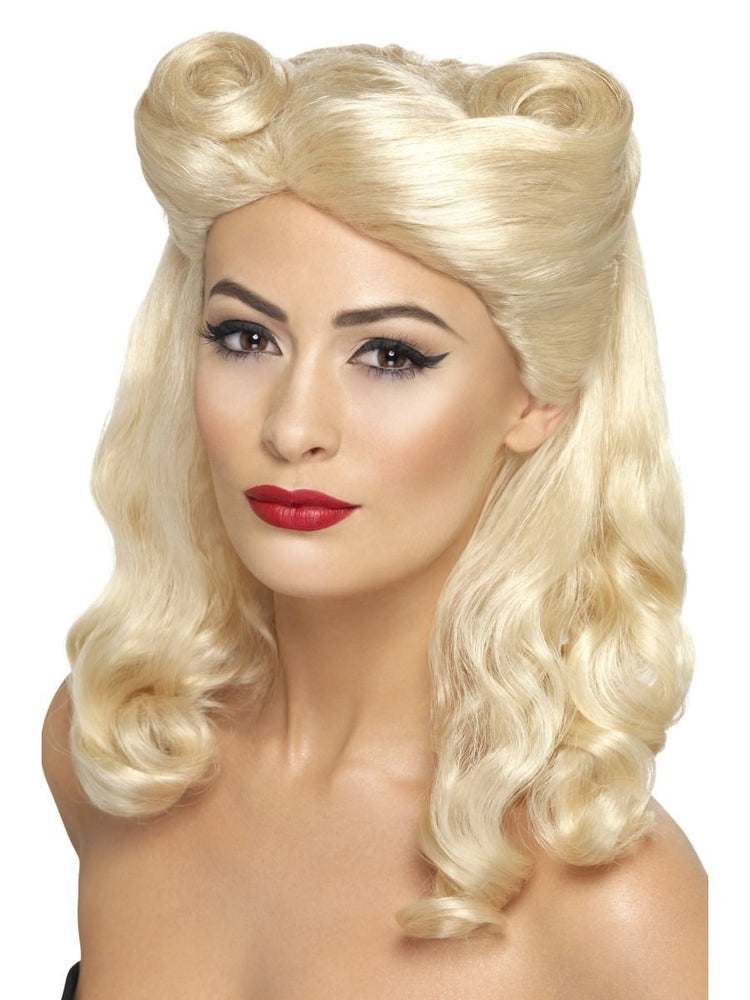 1940s Pin-up Wig w/ Rolls, Blonde