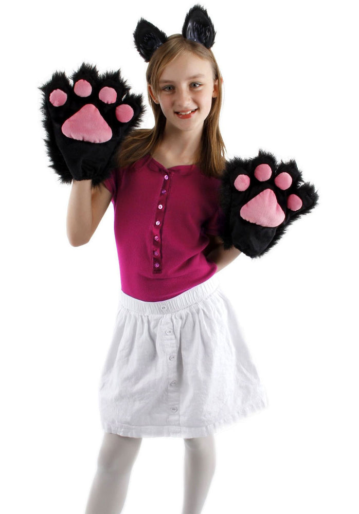 Black and Pink Kitty Paws/Gloves, Kitten Adult Gloves