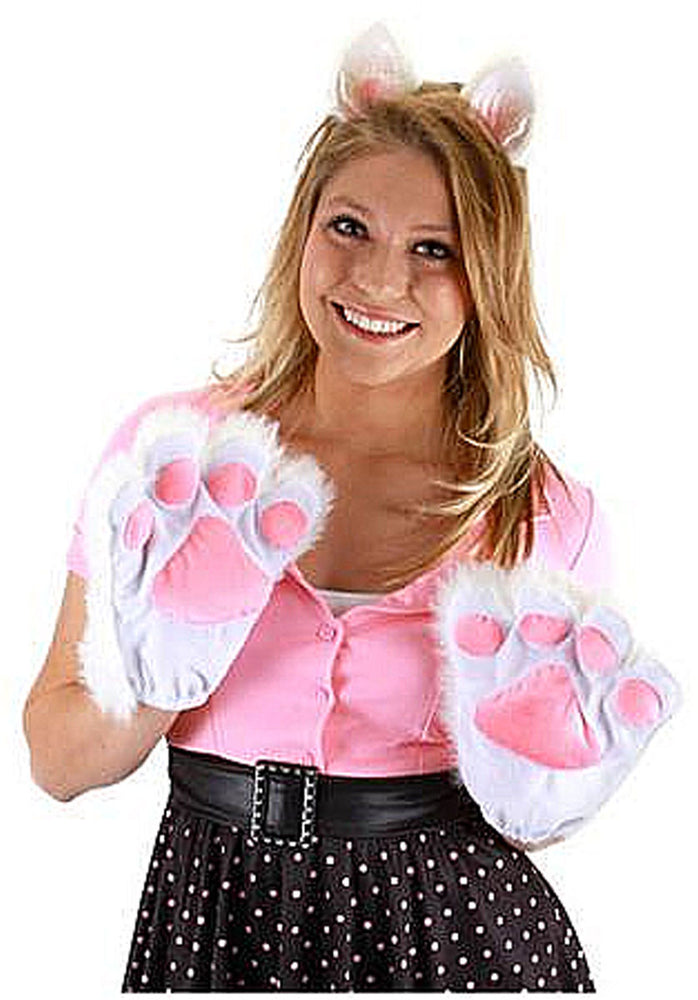 White and Pink Kitty Paws/Gloves, Kitten Adult Gloves