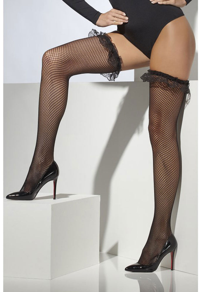 Black Fishnet Hold-ups with Lace Trim