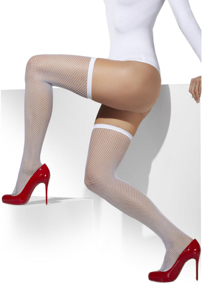 White Fishnet Hold Ups, Fancy Dress Costume Accessory