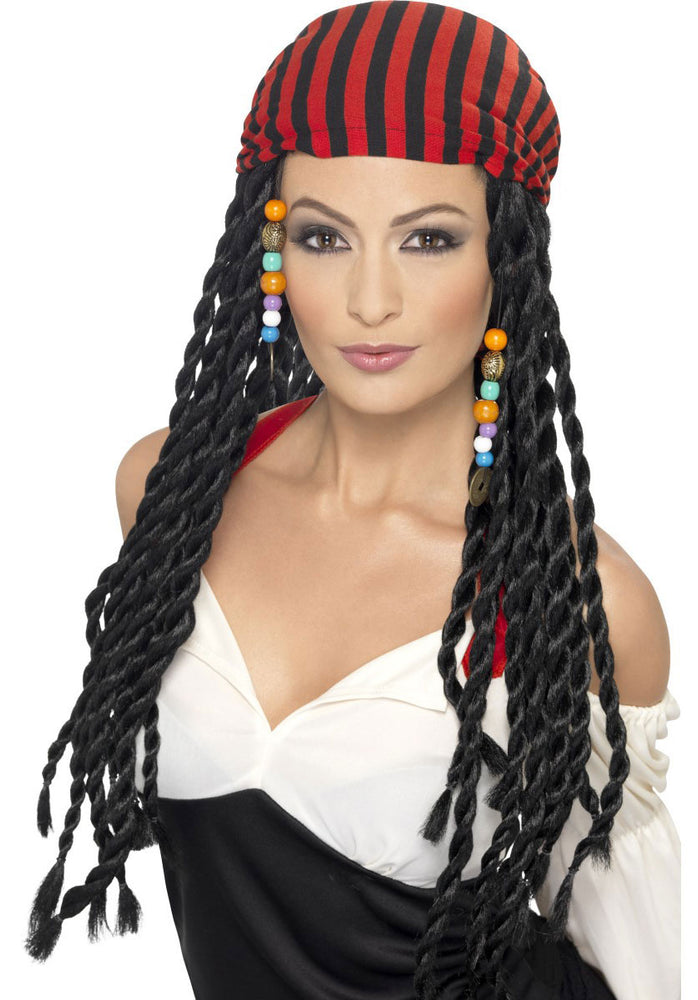 Pirate Wig with Beads and Scarf Set