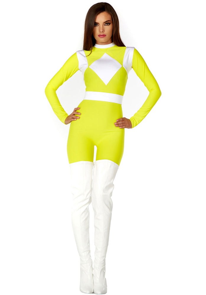 Womens Power Ranger Style Yellow Superhero Catsuit