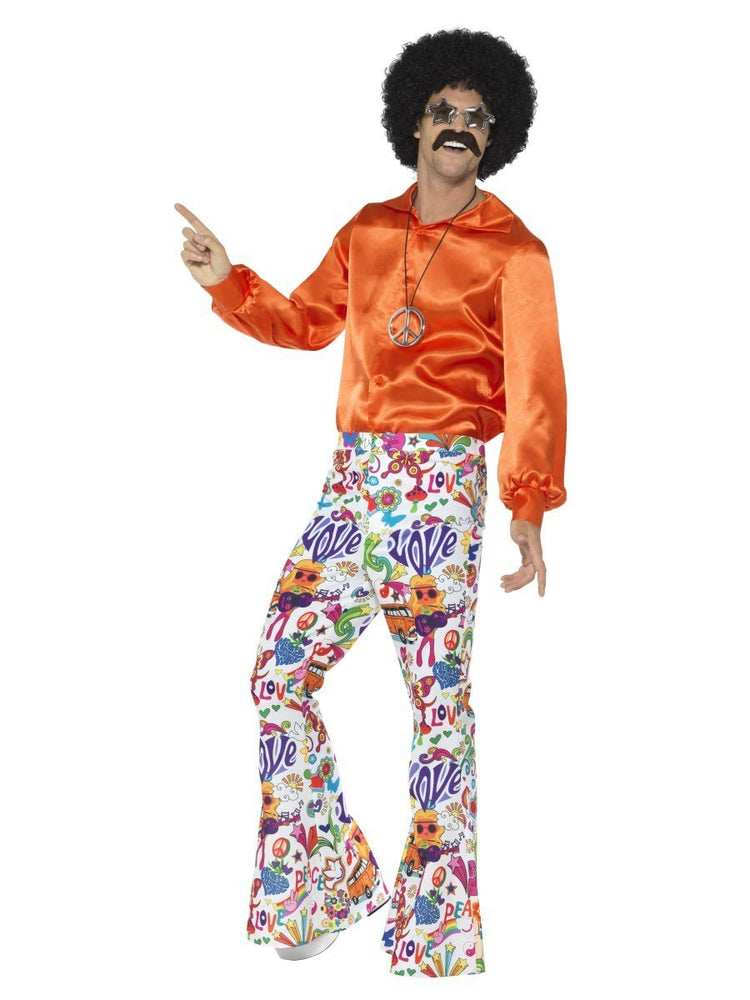 Smiffys 60s Groovy Flared Trousers, Mens - 44907