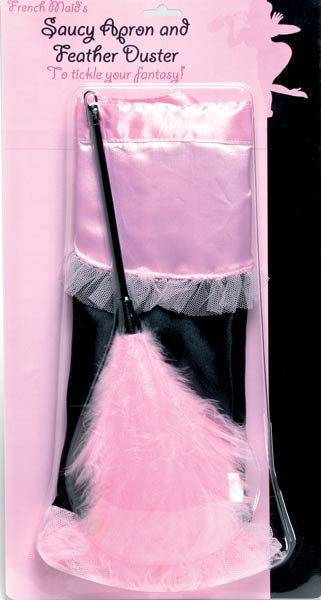 Saucy French Maid Apron with Feather Duster
