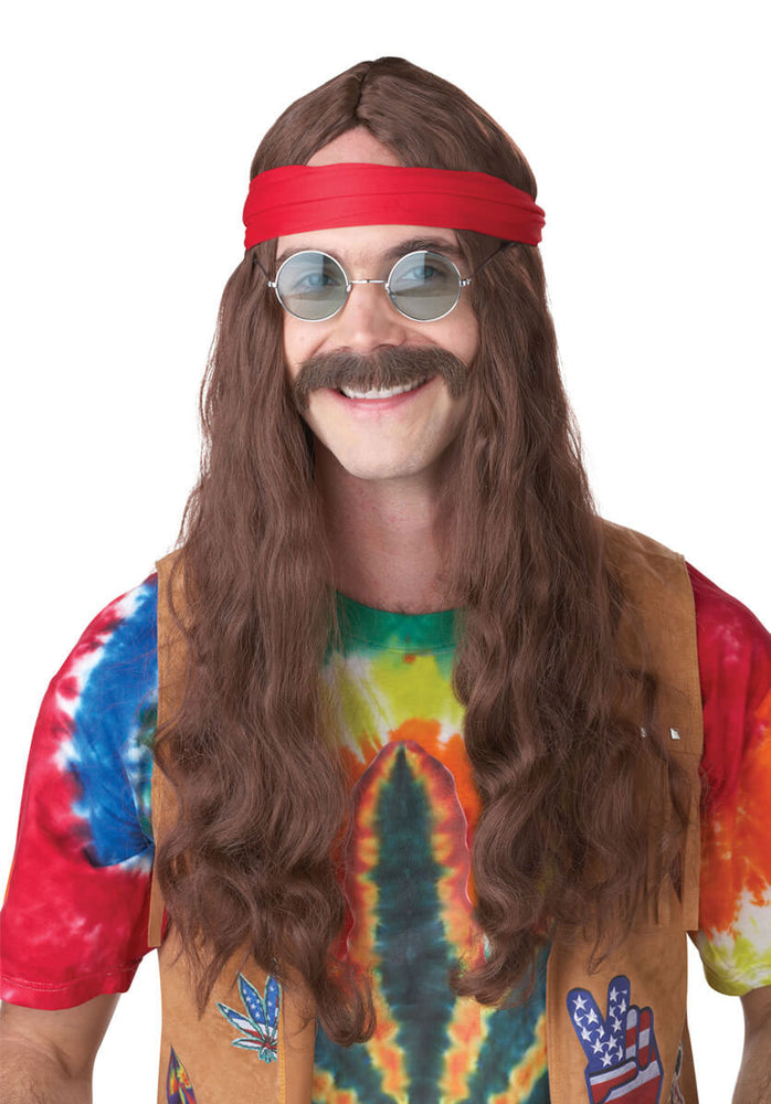 Hippy Man Wig & Moustache, Brown