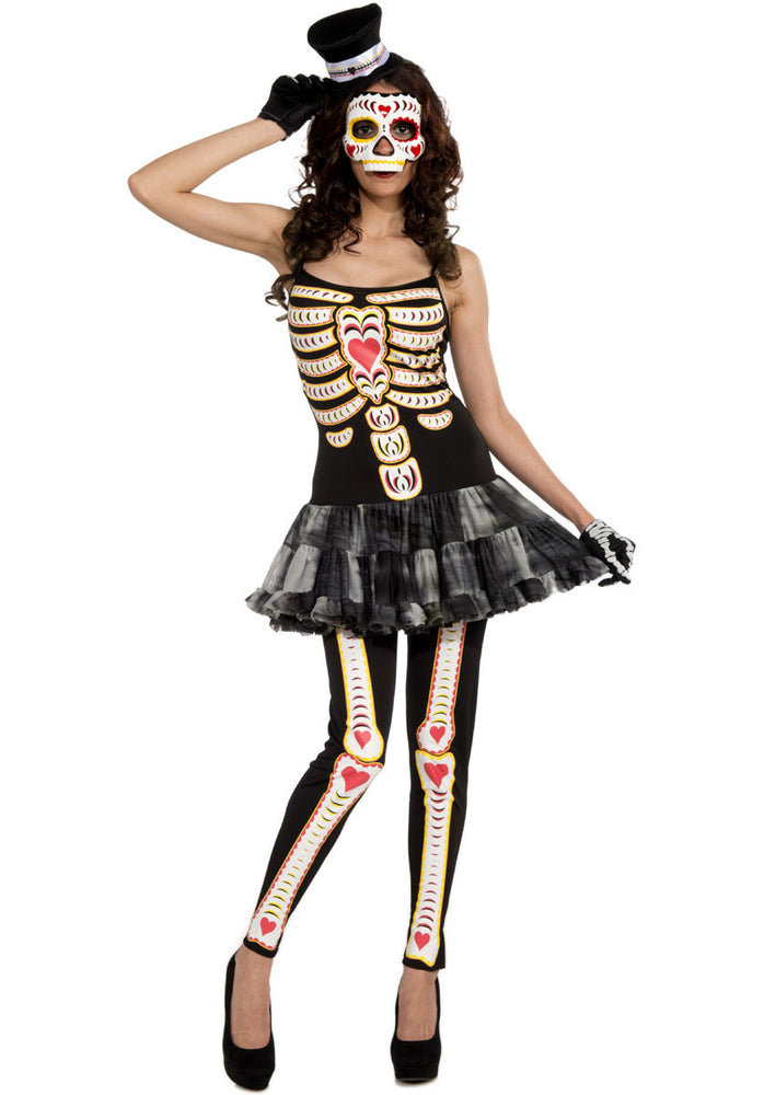 Adult Female Day of the Dead Costume, Skeleton Fancy Dress