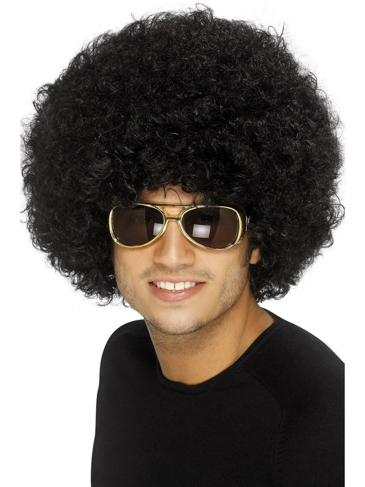 70s Funky Afro Wig, Black