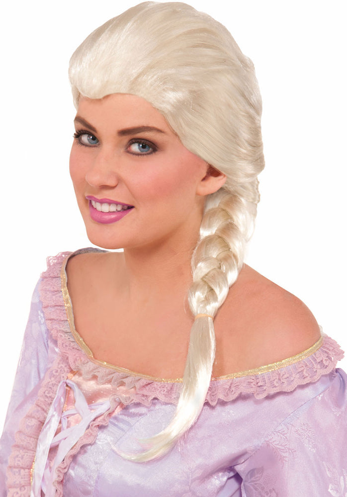 Tie-back Ice Blonde Wig with Short Plait