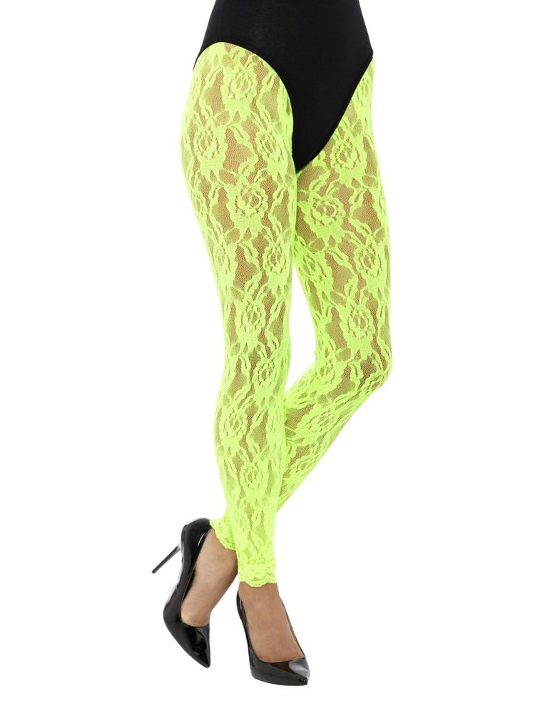 80s Lace Leggings, Neon Green