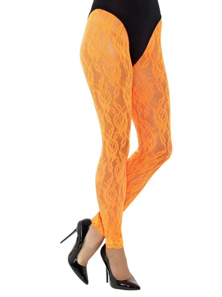 80s Lace Leggings, Neon Orange