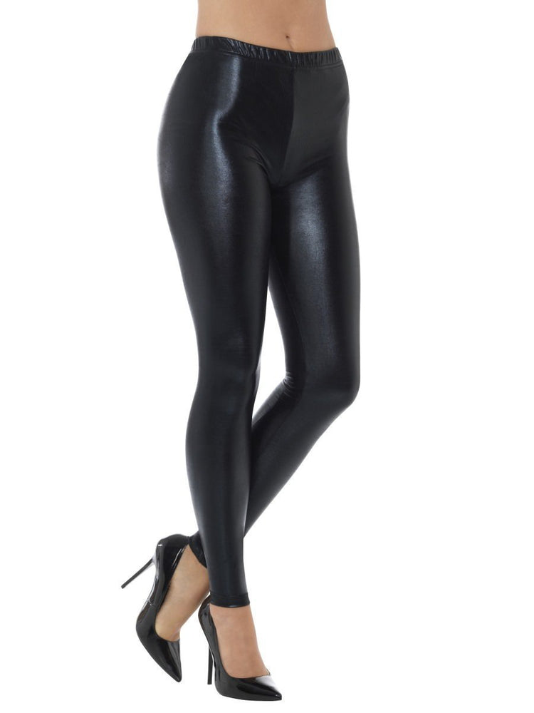 Smiffys 80s Metallic Disco Leggings, Black - 48106