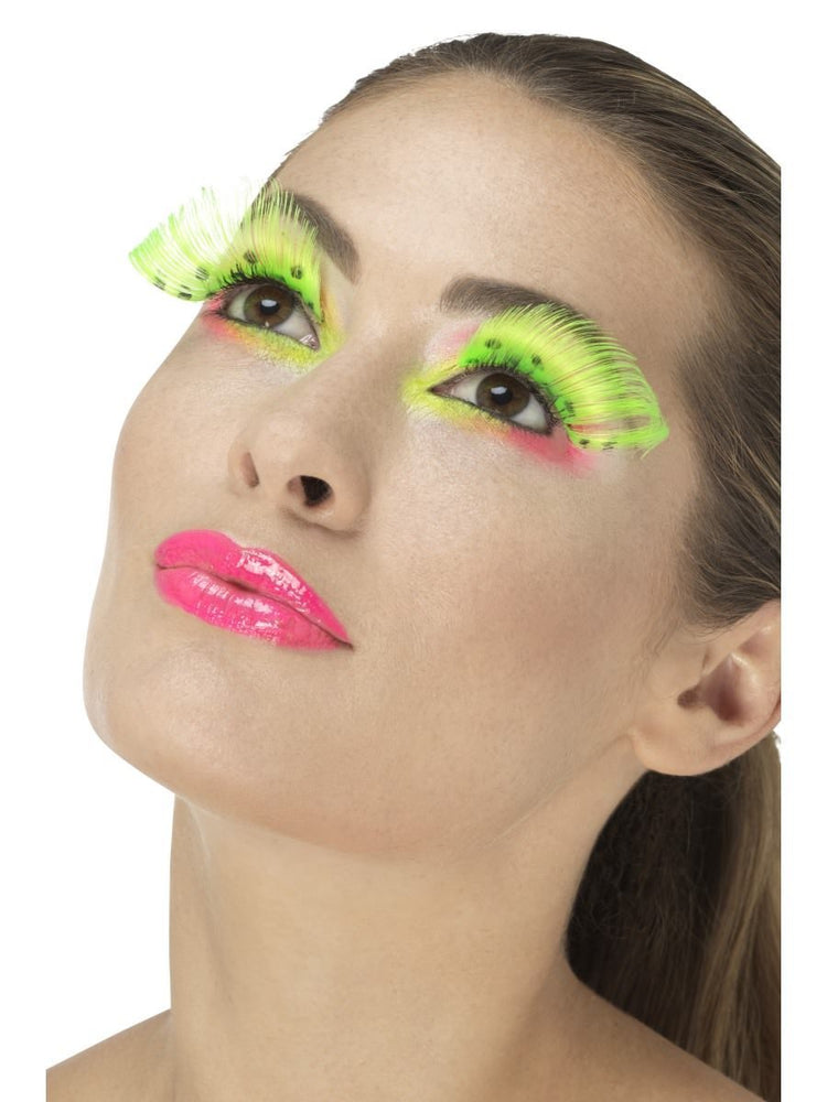 80s Polka Dot Eyelashes, Neon Green