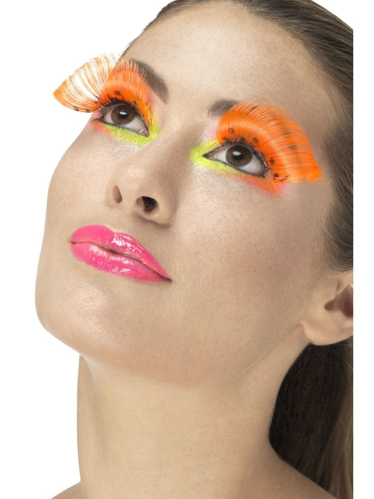 80s Polka Dot Eyelashes, Neon Orange