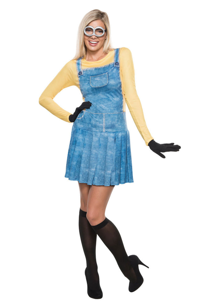Ladies Official Minions Dungaree Dress Costume Halloween