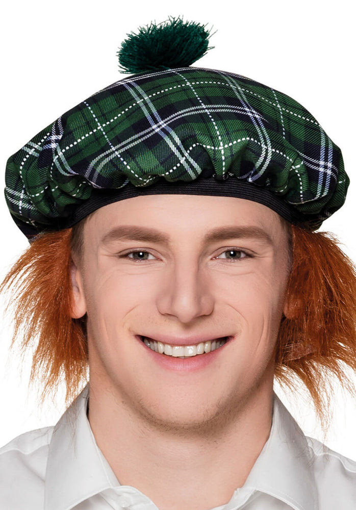 Mr Tartan Beret with Hair - Green