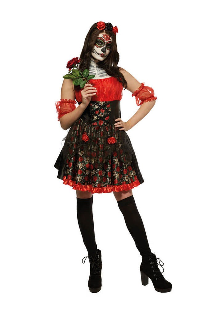 Day of the Dead Red Rose Costume