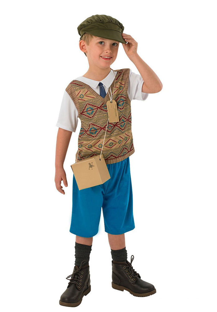 Kids Evacuee Boy Costume, 1940's WWII Fancy Dress