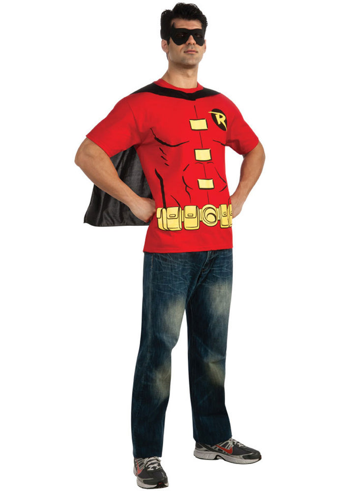 Mens Robin T-Shirt, Cape & Mask Costume