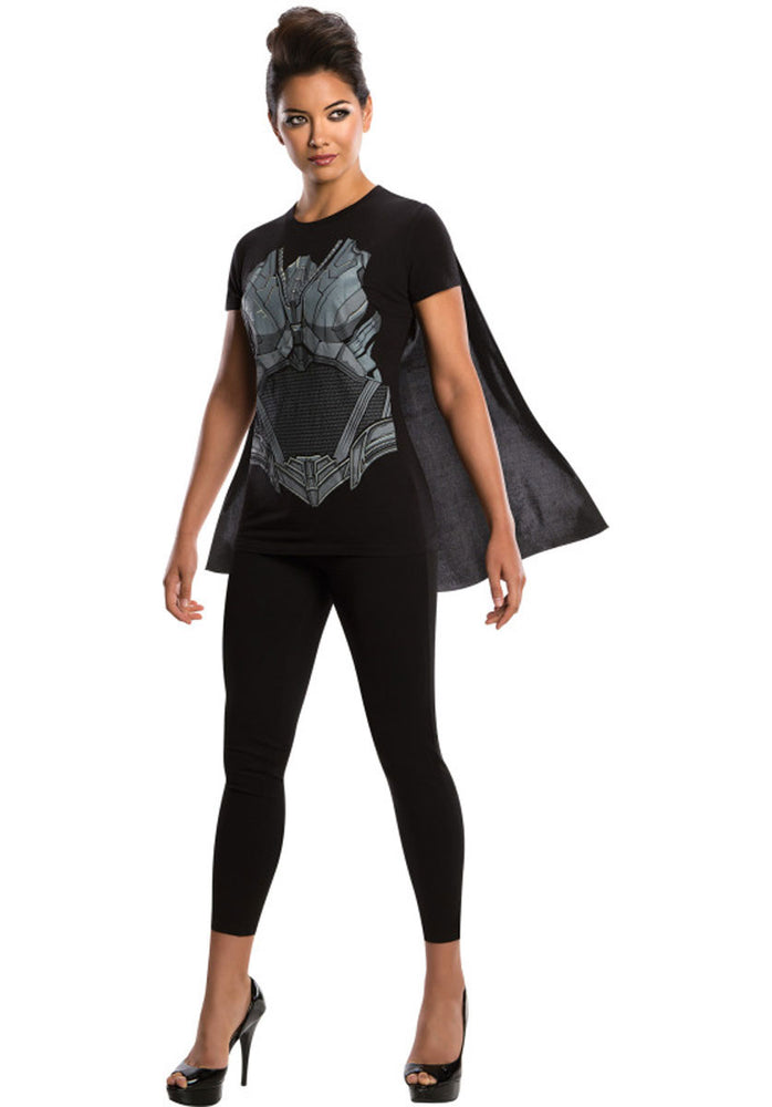 Faora Costume Set, T-Shirt & Cape - Man of Steel Fancy Dress