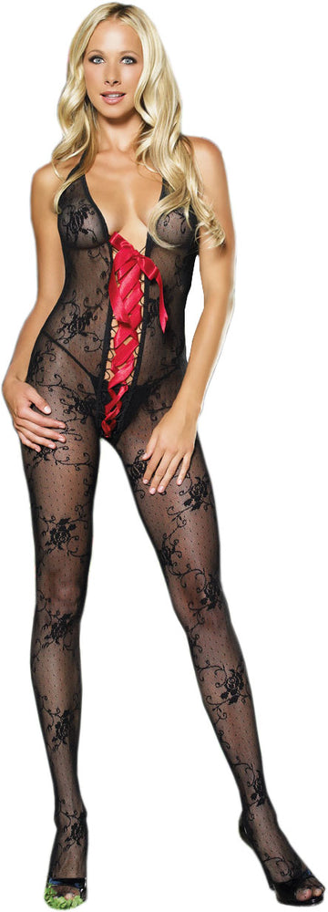 Bodystocking Halter - Black & Red, Leg Avenue™