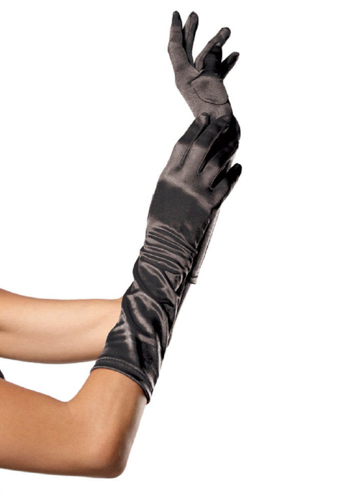 Elbow Length Satin Gloves Black, Leg Ave?