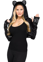Cute Black Cat Shrug with Hood