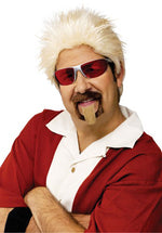 Spiky Blonde Wig Brown Goatee Celebrity Chef Headset