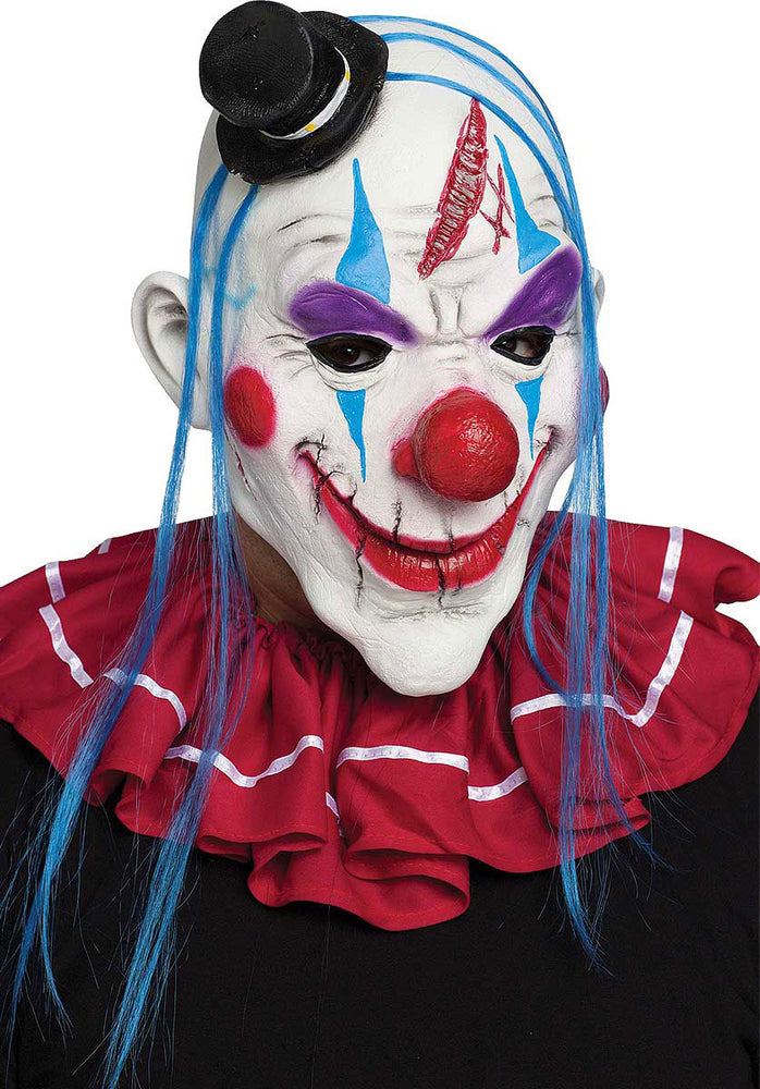 Scary Horror Killer Clown Mask Red White Blue Fancy Dress